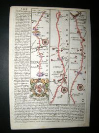 Owen & Bowen C1740 Hand Col Road Map. Gloucestershire, Oxford. Burford, Banbury